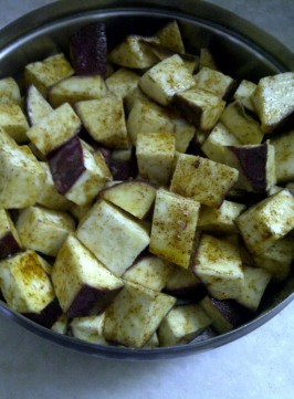 Marinate Sweet Potato for Croutons